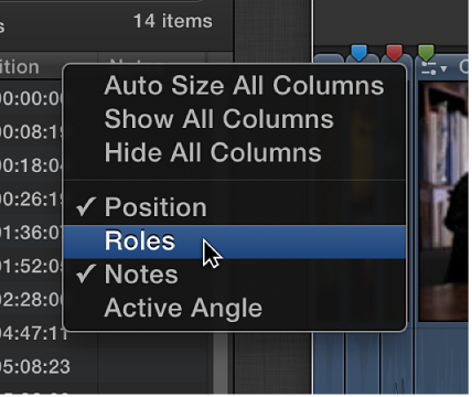 Shortcut menu for customizing display of columns in Timeline Index