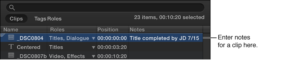 Notes field being edited for clip in Timeline Index