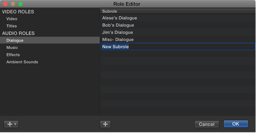 Newly created subrole shown in Role Editor window