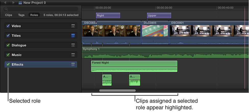 Role selected in Timeline Index, and clips with that role assigned appearing highlighted in Timeline
