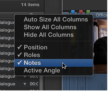 Notes column being added to Timeline Index using shortcut menu
