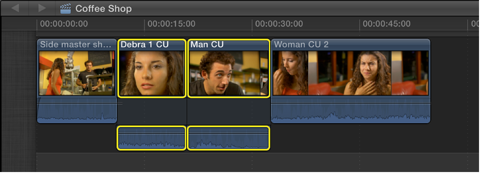 Two adjacent selected clips in Timeline shown with expanded audio