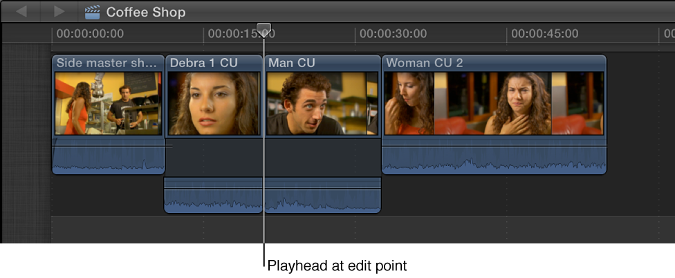 Playhead positioned on edit point between two clips