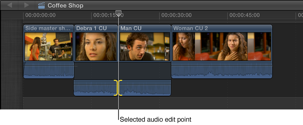 Both sides of audio edit point shown selected