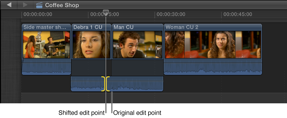 Audio edit point shown shifted to left, creating split edit