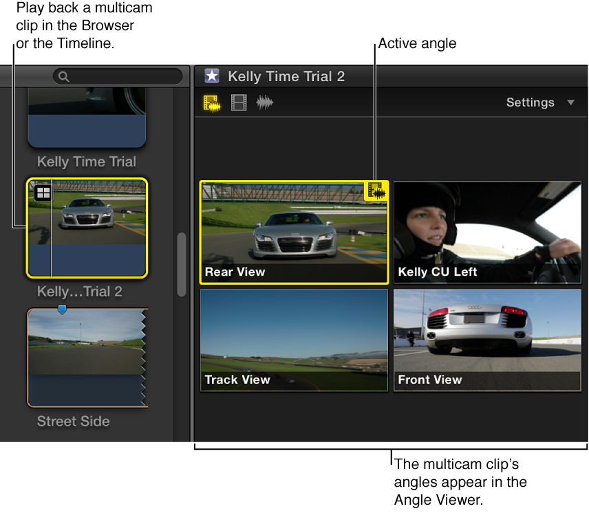 Angle Viewer displaying angles of multicam clip selected in Browser