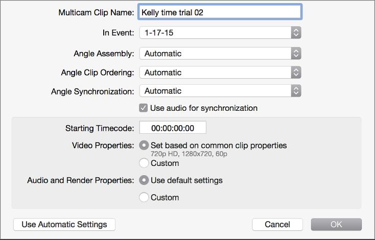 Multicam custom settings