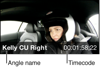 Angle name and timecode shown on angle