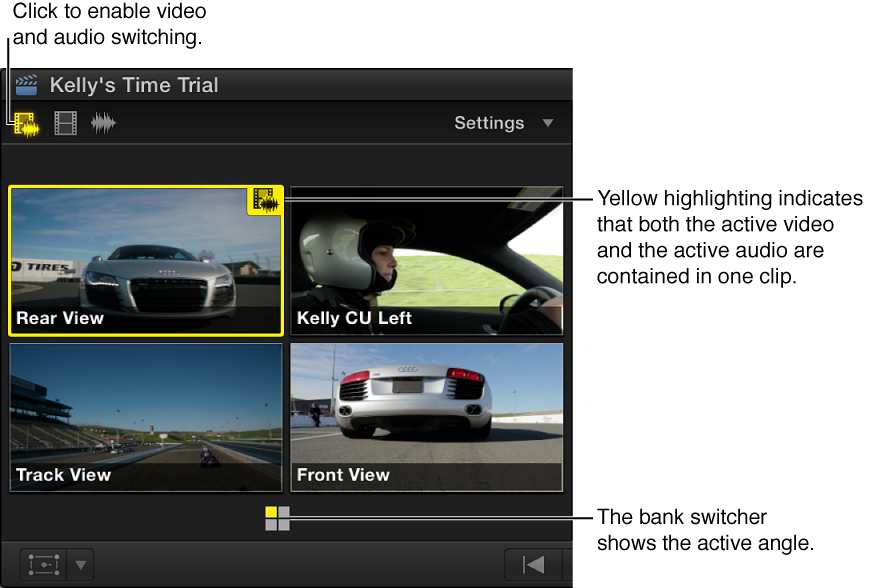Angle Viewer shown with video and audio switching enabled