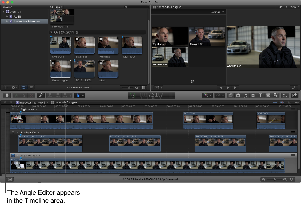Final Cut Pro main window with Angle Editor shown in Timeline area
