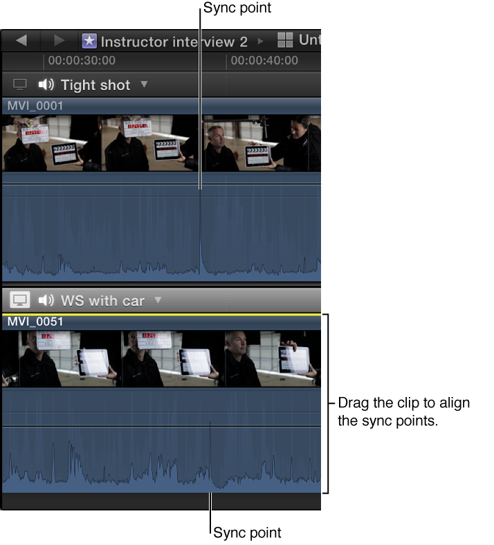 Two clips in Angle Editor shown with sync points aligned vertically