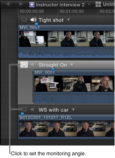 Video Monitor icon shown on clips in Angle Editor