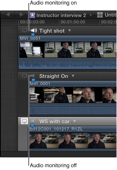 Audio Monitor icon shown on clips in Angle Editor