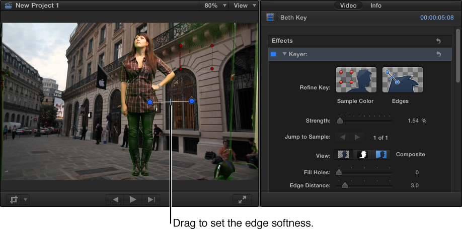 Edges tool being used in Viewer to adjust edge softness