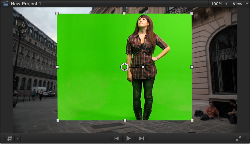 Viewer showing Mask effect applied to chroma key foreground clip