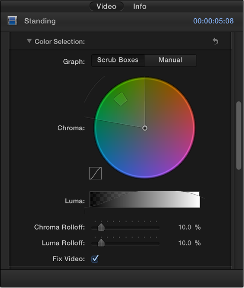 Color Selection controls in Video inspector