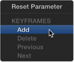 Pop-up menu with options to add or delete keyframes