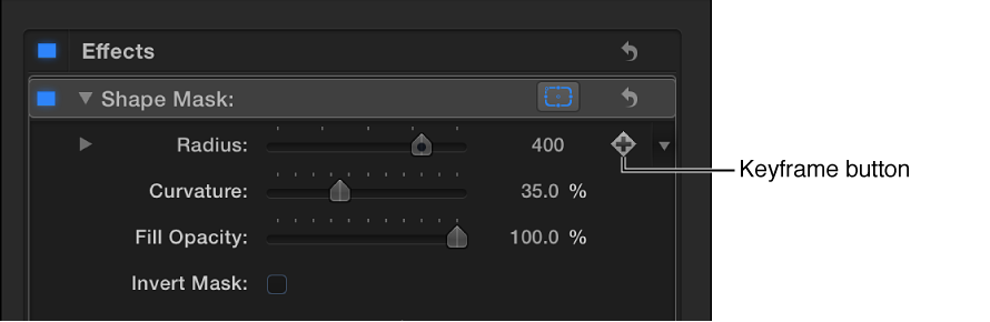 Shape Mask controls in the Effects list of the Video inspector