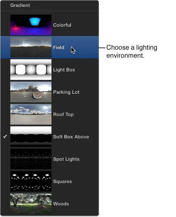 Preset lighting environments menu