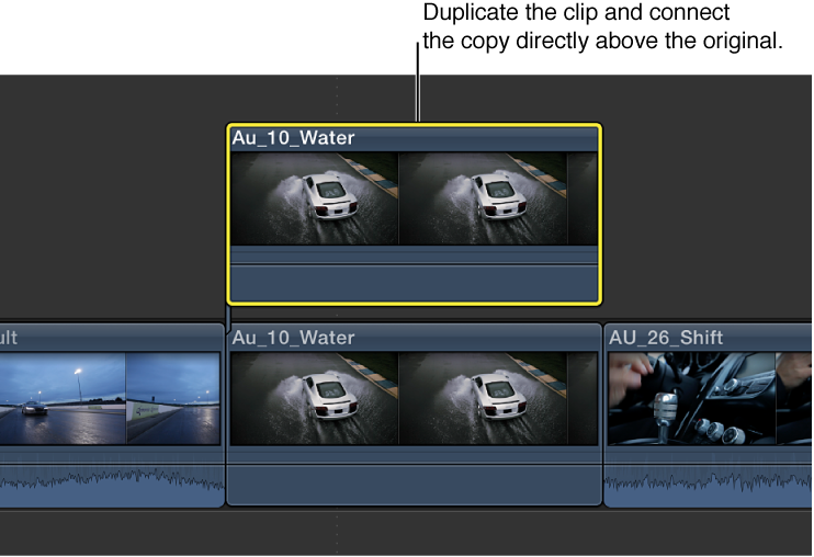 Timeline showing original clip and duplicate clip