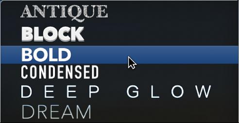 Preset text styles pop-up menu showing various text presets
