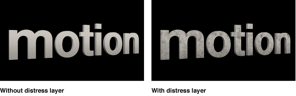 3D titles in the Viewer with and without distress layer