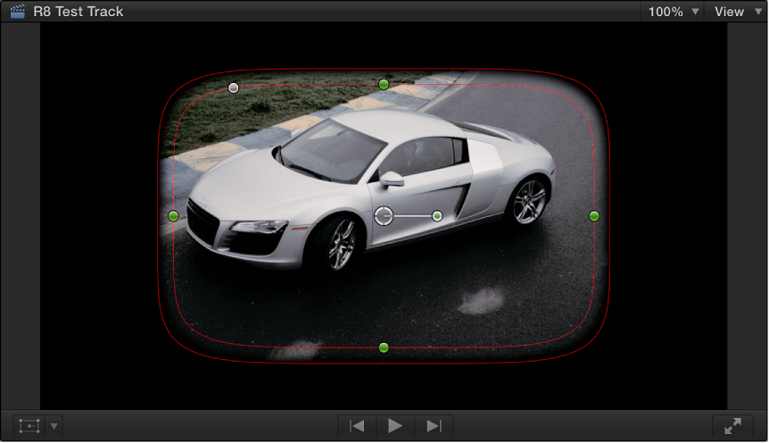 Viewer showing default onscreen controls for Shape Mask: a partially feathered ellipse shape in the center of the frame