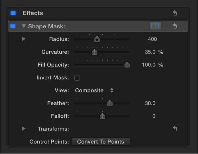 Shape Mask controls in Video inspector