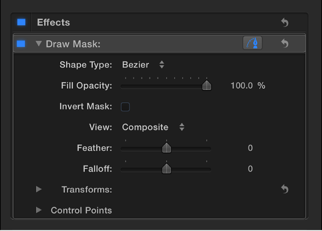 Draw Mask controls in Video inspector