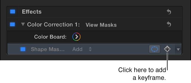 Color section of Video inspector showing Keyframe button for Shape Mask item