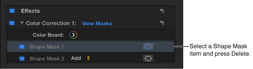Color section of Video inspector showing selected Shape Mask item
