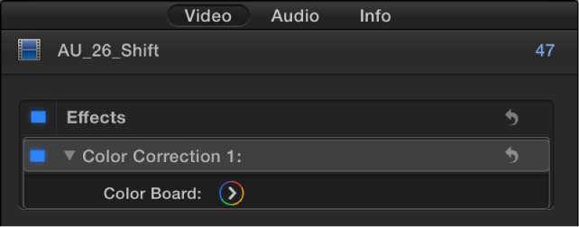 Color Correction effect in the Effects section of the Video inspector