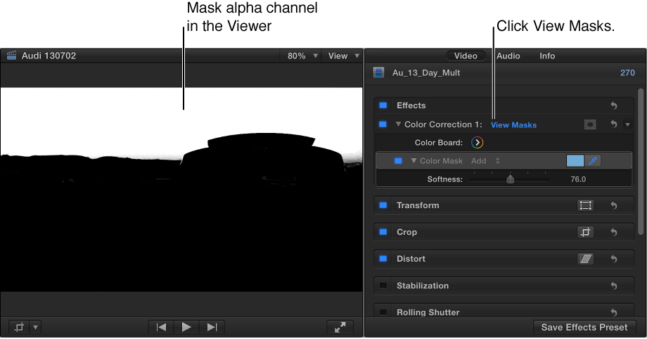 Viewer and Video inspector showing the Mask alpha channel of a clip