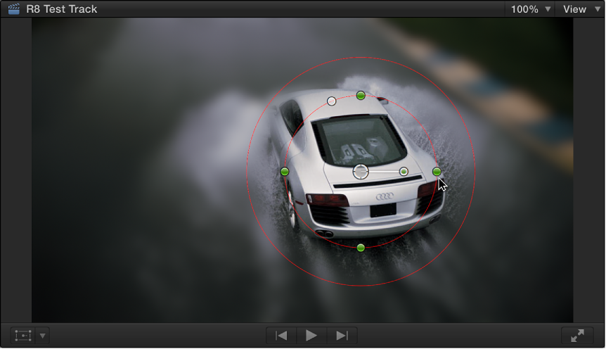 Viewer showing Shape Mask onscreen controls and Gaussian effect