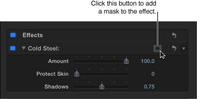 Effects section of the Video inspector showing