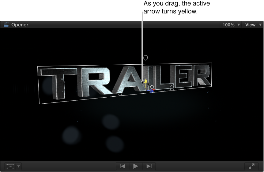 Viewer showing 3D title being moved vertically along its Y axis