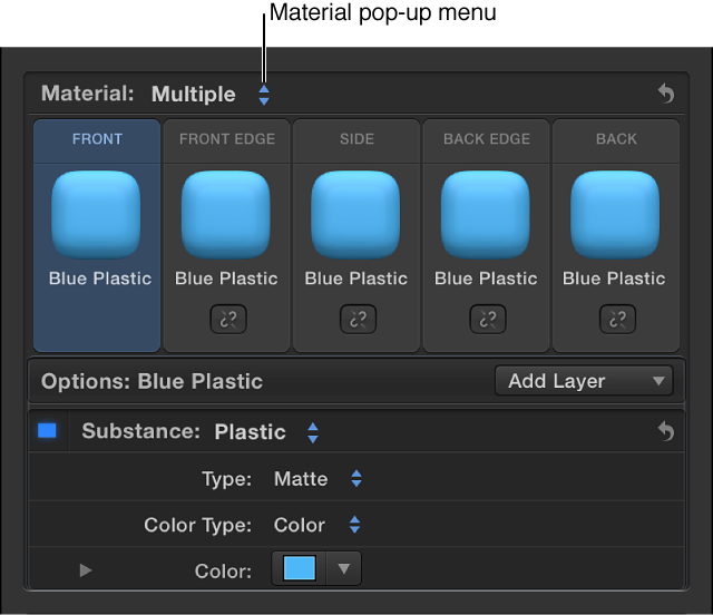 Material section of Text inspector showing preview thumbnails for front, front edge, side, back edge, and back facets