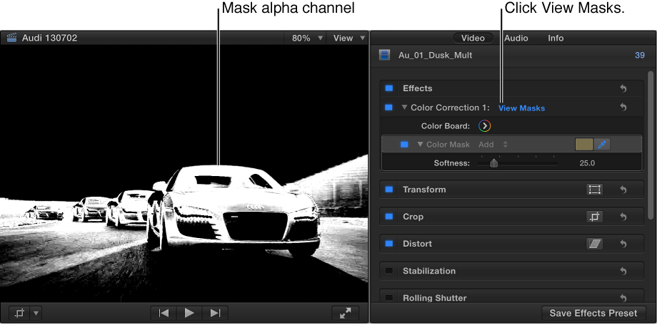 Viewer and Video inspector showing a clip with a color correction effect applied and mask alpha channel enabled