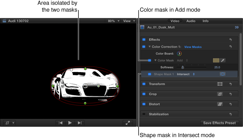 Viewer showing one car isolated by the two masks and the Video inspector showing mask settings
