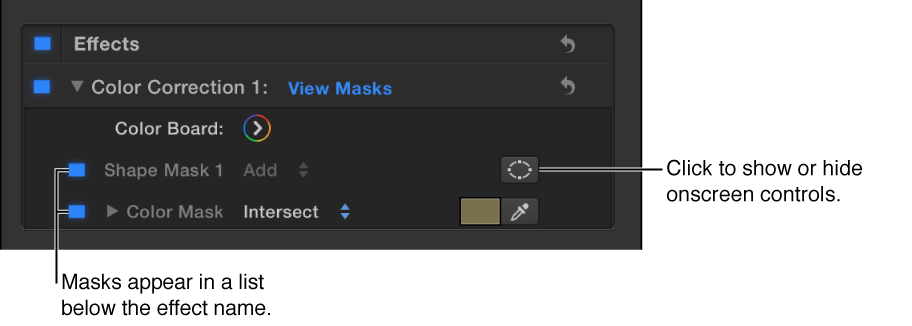 Color correction in Effects list of Video inspector showing a Shape Mask and a Color Mask