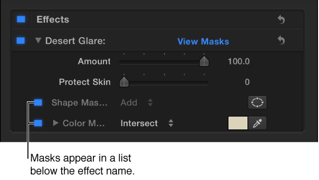 Color correction section in Video inspector showing a Shape Mask and a Color Mask