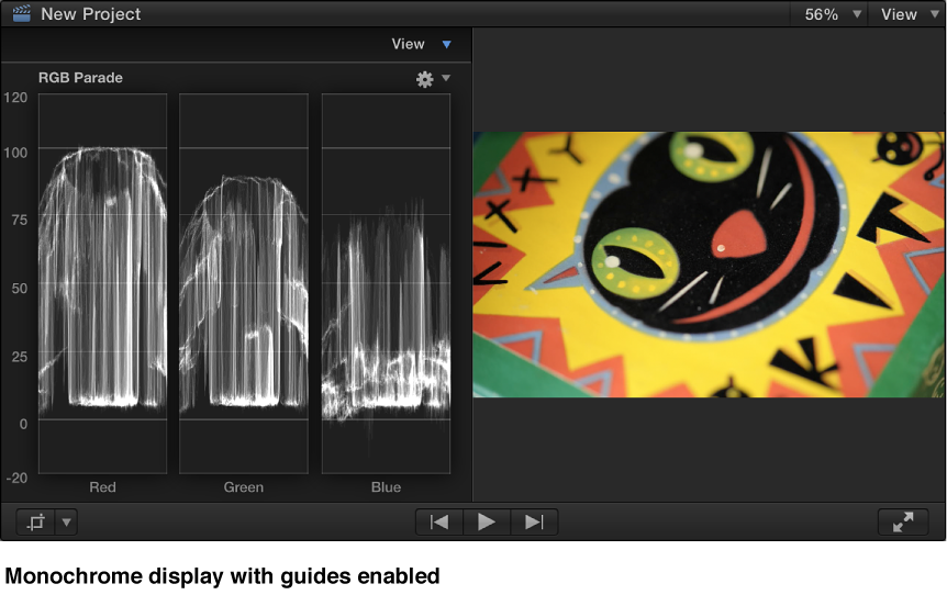 Viewer and monochrome RGB Parade Histogram with guides