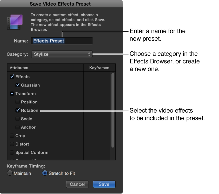 Save Video Effects Preset window