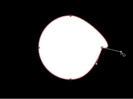 Viewer showing one tangent handle being rotated independently of its opposing tangent handle