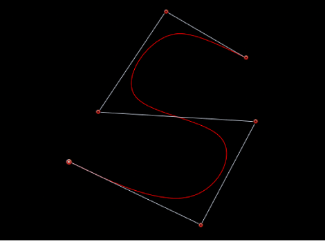 Viewer showing S-curve created with B-Spline handles