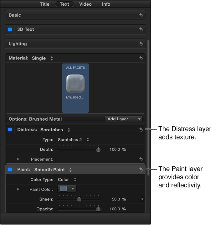 Text inspector, showing the Material section, including Distress and Paint layers