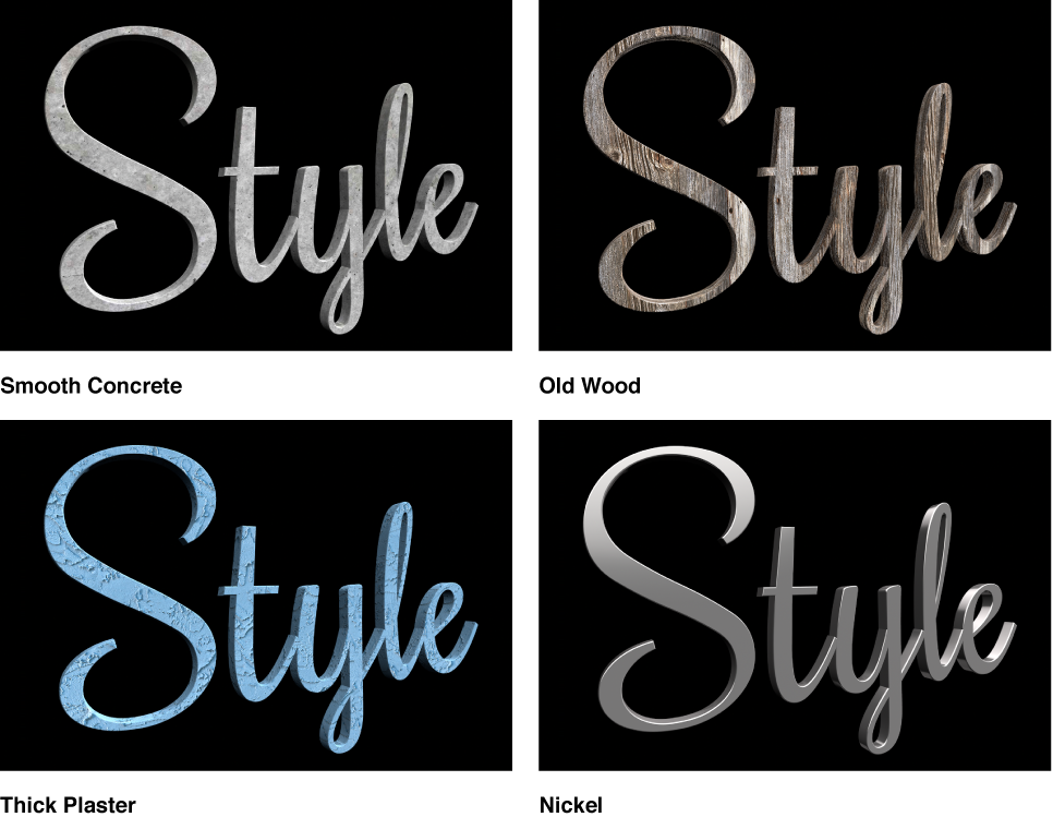 Viewer showing four versions of a 3D title, with different preset materials applied