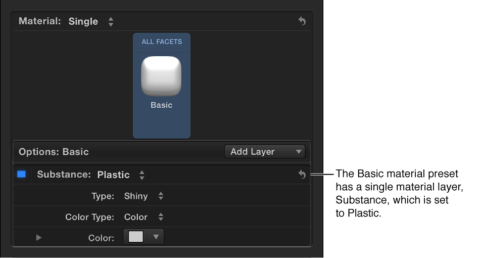 Text inspector showing a preview thumbnail of a preset in the Material section of the 3D Text section