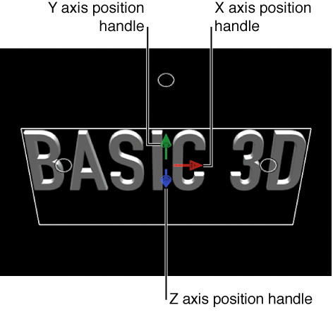 Viewer showing 3D title, including position handles for the X, Y, and Z axes