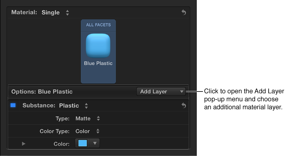 Material section of Text inspector showing Add Layer pop-up menu